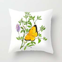 Clouded Sulfur Throw Pillow