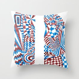 Striped Fish, Red/Blue Abstract Design (Ink Drawing) Throw Pillow