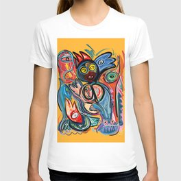 Yellow Life With Birds Street Art T-shirt