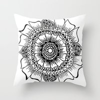 henna Throw Pillows featuring Flower henna  by Designs by NN