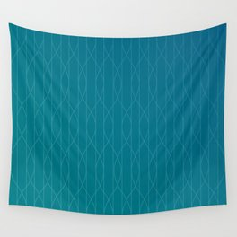 Wave pattern in teal Wall Tapestry