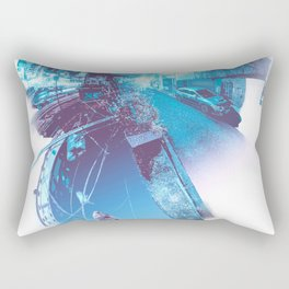 The quiet night, the river, the neon lights, the sky. Rectangular Pillow