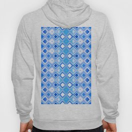 Blue and White Contemporary Geometric Diamonds Hoody