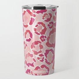 BIG KITTY KISS Watercolor Pink Animal Print Travel Mug