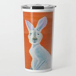 Great Gray Kangaroo on Orange Art Travel Mug