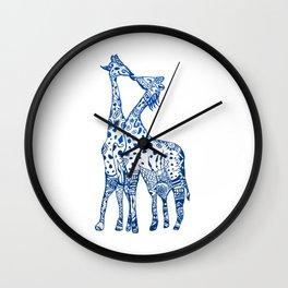 Giraffes kiss art Wall Clock