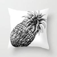 ornate Throw Pillows featuring Ornate Pineapple by BIOWORKZ