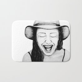 So Amused! Expressions of Happiness Series -Black and White Original Sketch Drawing, pencil/charcoal Bath Mat