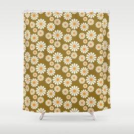 Lazy Daisy in Caramel Shower Curtain