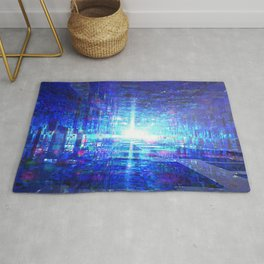 Blue Reflecting Tunnel Rug