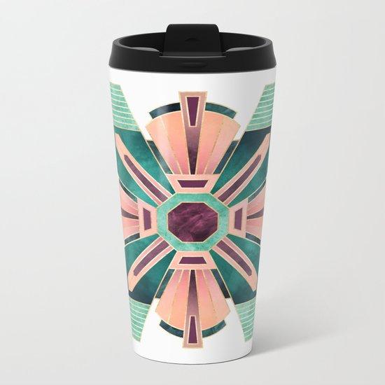 Art Deco Flower 1 Metal Travel Mug