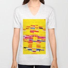 yellow pixel storm Unisex V-Neck