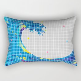 Great Wave in checked pattern_A Rectangular Pillow
