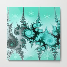 Winter magic in soft blue Metal Print