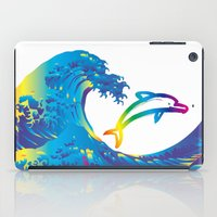 hokusai iPad Cases featuring Hokusai Rainbow & dolphin_C by FACTORIE