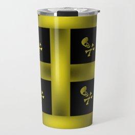 Yellow Skull Pattern Travel Mug