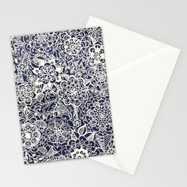 Lace on Nautical Navy Blue Stationery Cards