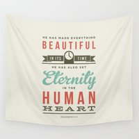 verse Wall Tapestries featuring He has made everything beautiful by Jonathan Ogden
