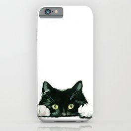 Black cat watching at you iPhone Case