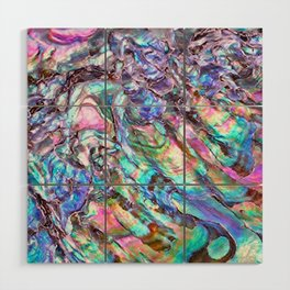 Shimmery Rainbow Abalone Mother of Pearl Wood Wall Art
