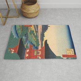 Red Pagoda over River Vintage Ukiyo-e Woodblock Print Rug