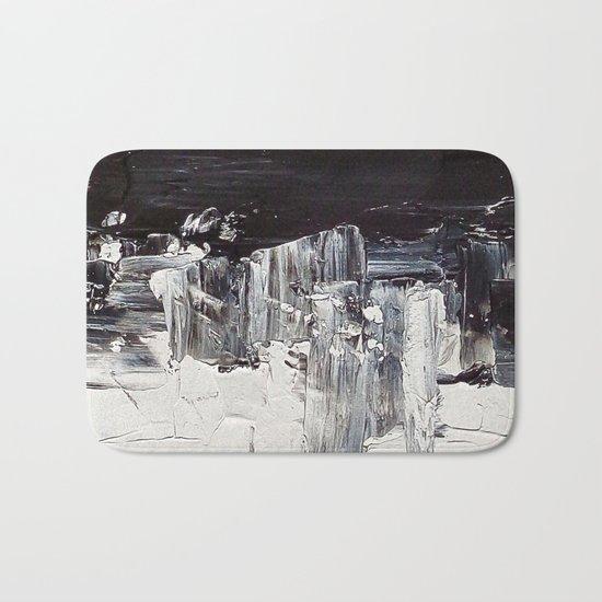 Flatline - black & white abstract painting Bath Mat