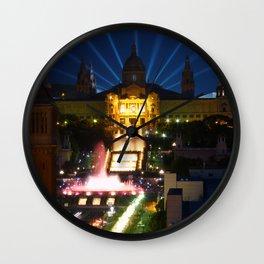 Barcelona at Night Wall Clock