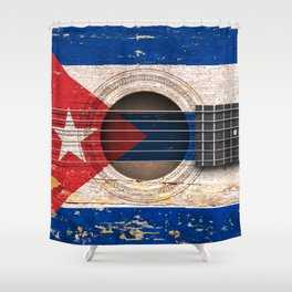 Old Vintage Acoustic Guitar with Cuban Flag Shower Curtain