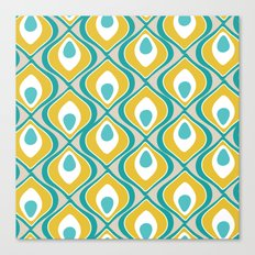 peacock pattern teal yellow Canvas Print