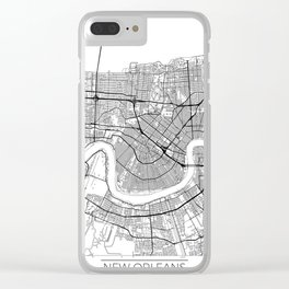 New Orleans Map White Clear iPhone Case