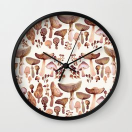 Watercolor Mushrooms Wall Clock