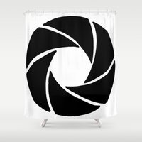aperture Shower Curtains featuring Aperture by PlayWithFireDieInIce