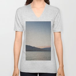 sunset over the lake ... Unisex V-Neck