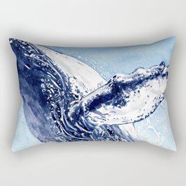 Breaking the Breach - Whale Watercolor Rectangular Pillow
