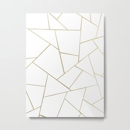 Gold White Geometric Glam #1 #geo #decor #art #society6 Metal Print