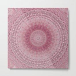 Pink Crystal Mandala Design Metal Print