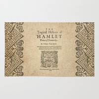 hamlet Area & Throw Rugs featuring Shakespeare, Hamlet 1603 by BiblioTee