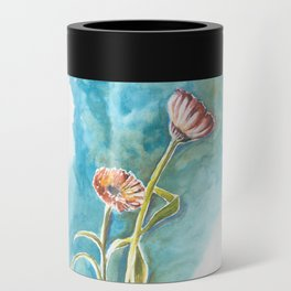 Blooms on Turquoise Can Cooler
