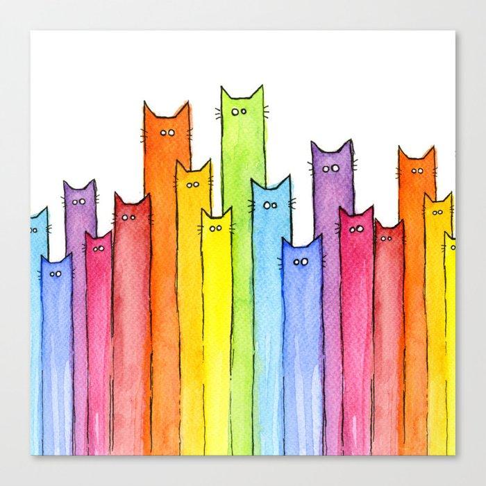 Cat Rainbow Watercolor Pattern Leinwanddruck