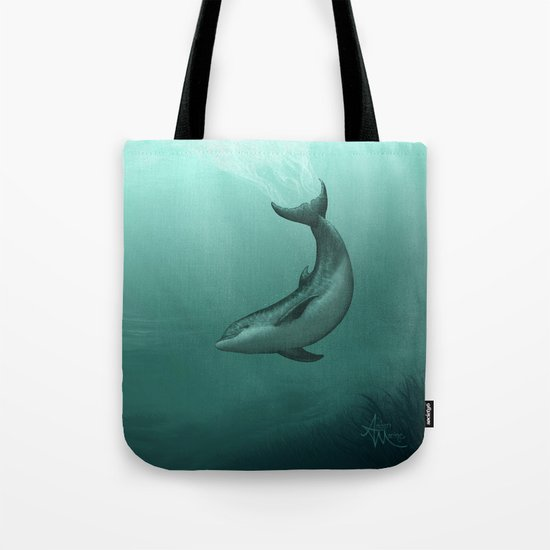 Siren of the Lagoon ~ Dolphin Art by Amber Marine Tote Bag