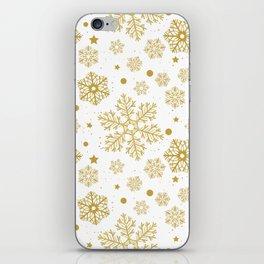 Golden snowflakes iPhone Skin