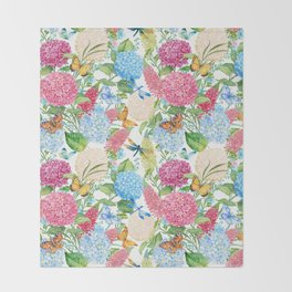 seamless pattern flowers and butterflies.hydrangeas and lupines Throw Blanket