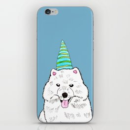 Samoyed with Party Hat iPhone Skin