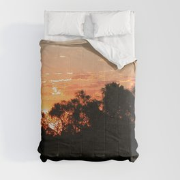Sunset Tropical Forest Trees Landscape 3, Pantanal, Brazil Comforters
