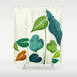 Rainforest Hike / tropical leaf collection Shower Curtain