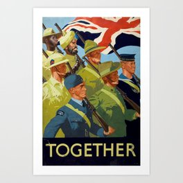 Together - WWII Propaganda Poster Art Print