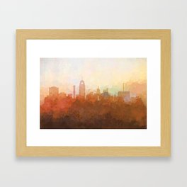 Lansing, Michigan Skyline - In the Clouds Framed Art Print