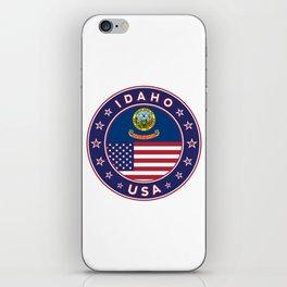 Idaho, Idaho t-shirt, Idaho sticker, circle, Idaho flag, white bg iPhone Skin
