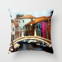 Burano Bridge - Revised 2020 Throw Pillow