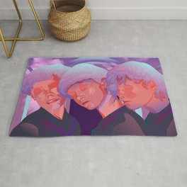 Reverie // Daydream: Three girls with closed eyes, purple, lila, pink color palette Rug